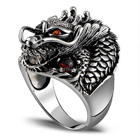 Sterling Silver Vintage Dragon Ring With Natural Stone Red Eyes