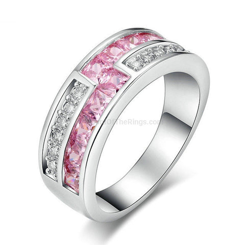 Pink + Clear Crystal Silver Ring