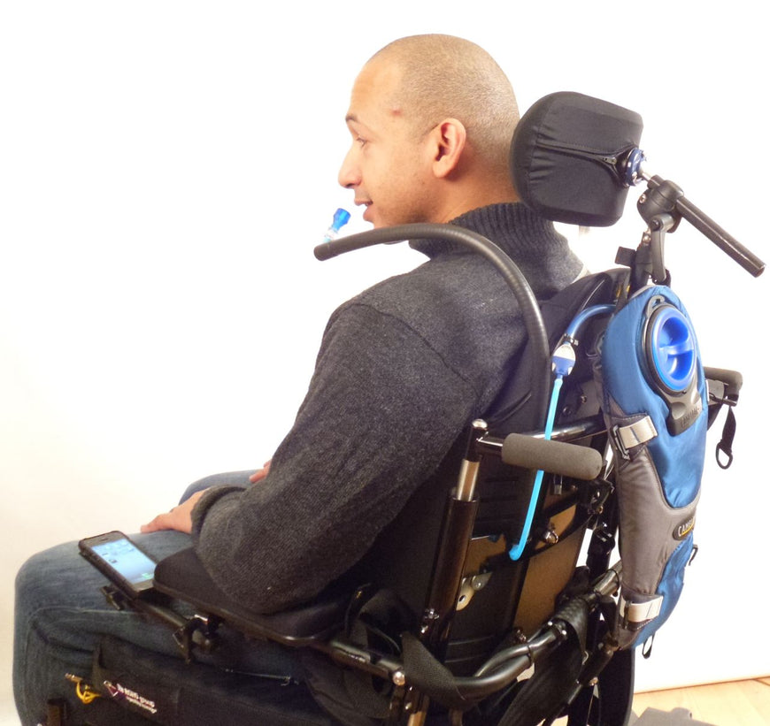 Redman H2O Hydration & Sip / Puff / Bite Switch Wheelchair Backrest Mount for Doors, Housemate, & Fortissimo - Broadened Horizons Direct