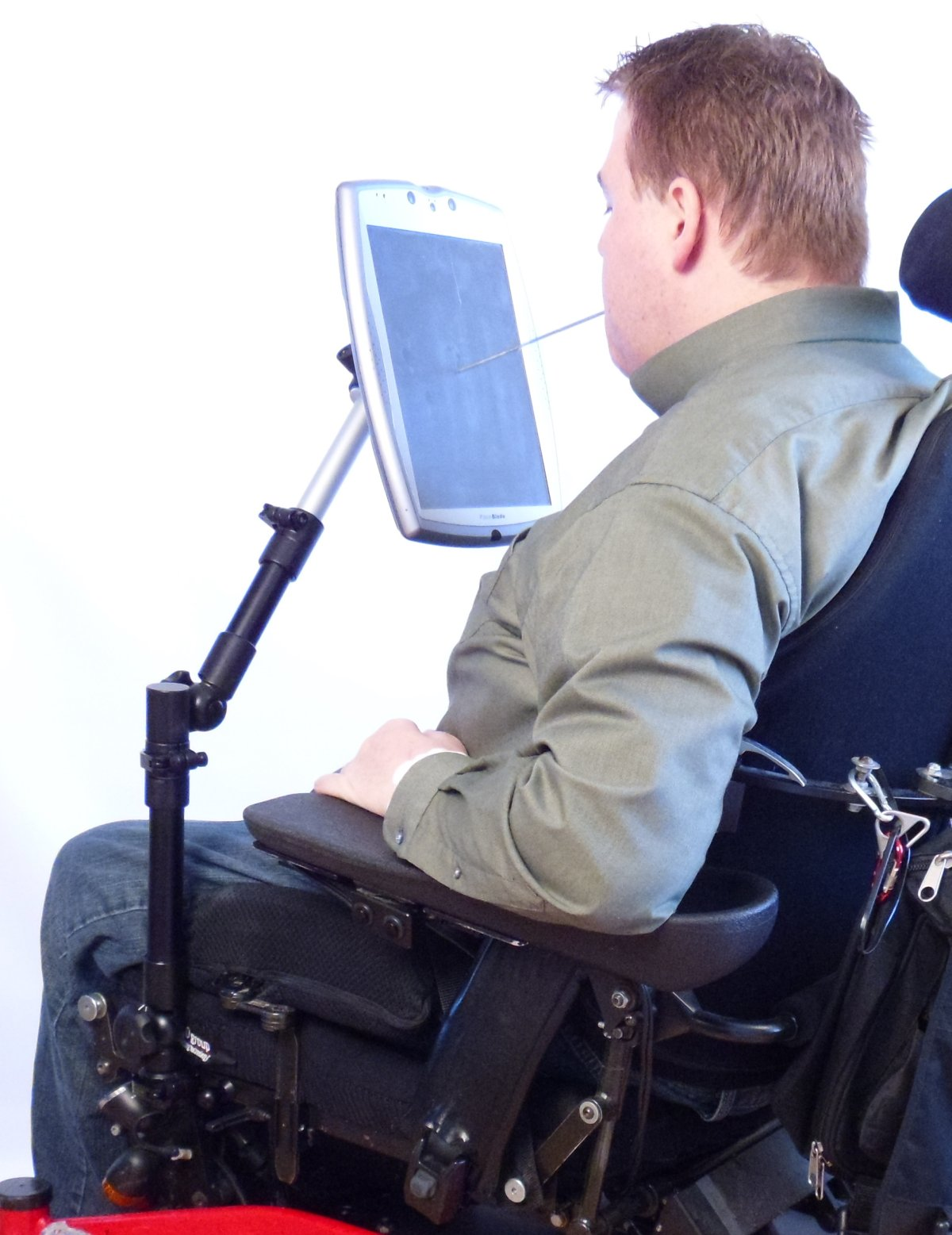 Robo Arm on Wheelchair -Tablet with Mouse Stick