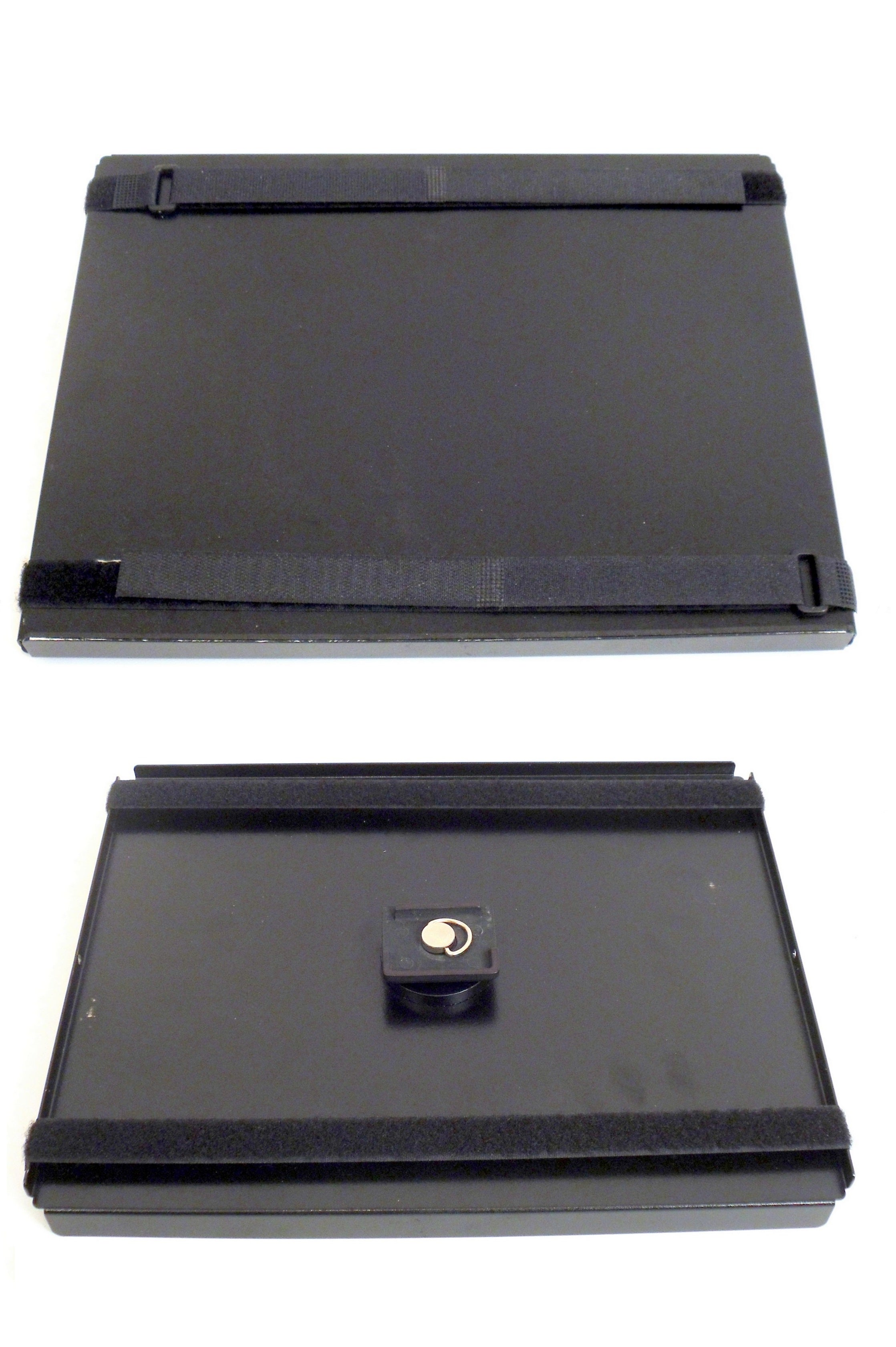 Robo Arm Multi-Use Black Aluminum Tray with Velcro Loop Straps for Laptop