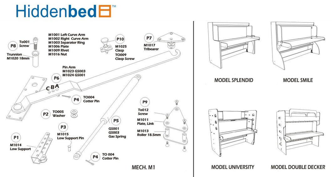DIY Horizontal Twin (Single) Do-It-Yourself Mechanism, Plans Drawings, & Assembly Instructions - Broadened Horizons Direct