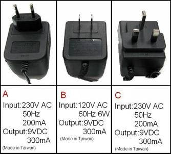 VoiceIR Available Power Adapters
