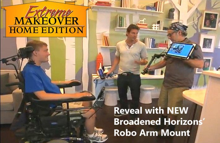 Extreme Makeover Home Edition Reveal of Robo Arm Mount with Windows Slate Tablet