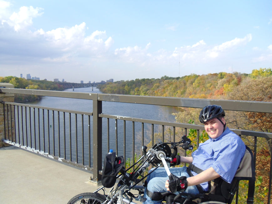 Stricker ElectroBike Quadriplegic Power Assist Handcycle over Mississippi River