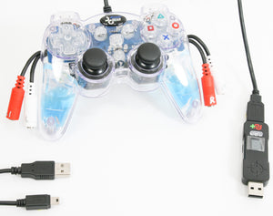 PS3/PC Wired USB Translucent Blue Videogame Controller Was Switch Enabled Triggers Includes Cronus Max Adapter