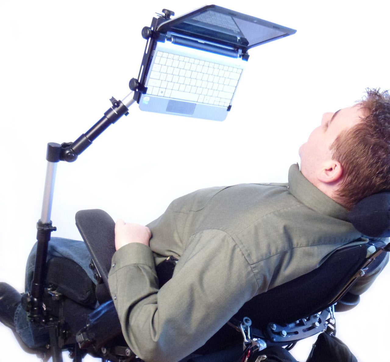 Roll Arm Extreme Positioning Holding a Laptop Overhead While Reclining