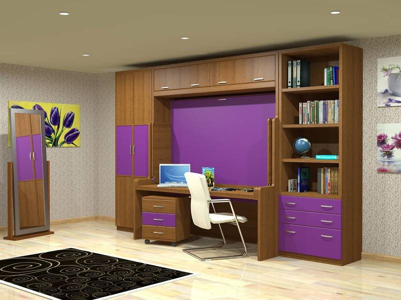 Horizontal Transforming Desk to Full (Double) Hidden Bed - Maple with Cherry Finish - Broadened Horizons Direct