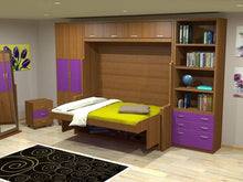 Load image into Gallery viewer, Horizontal Transforming Desk to Full (Double) Hidden Bed - Maple with Cherry Finish - Broadened Horizons Direct