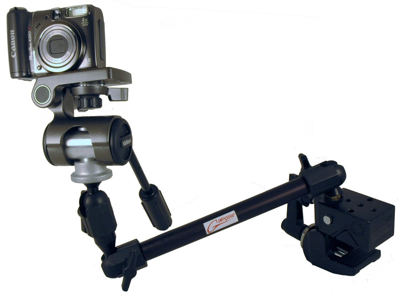 Manual Camera Pan & Tilt Head with Quick Releases for Camera & Robo Arm, or 3rd Arm Ball Mount - Broadened Horizons Direct