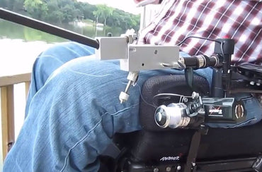 Ez-Cast Wheelchair Armrest Fishing Rod Holder with Cast-Assist - Broadened Horizons Direct