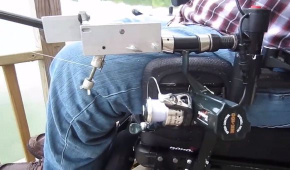 Ez-Cast Wheelchair Armrest Fishing Rod Holder with Cast-Assist