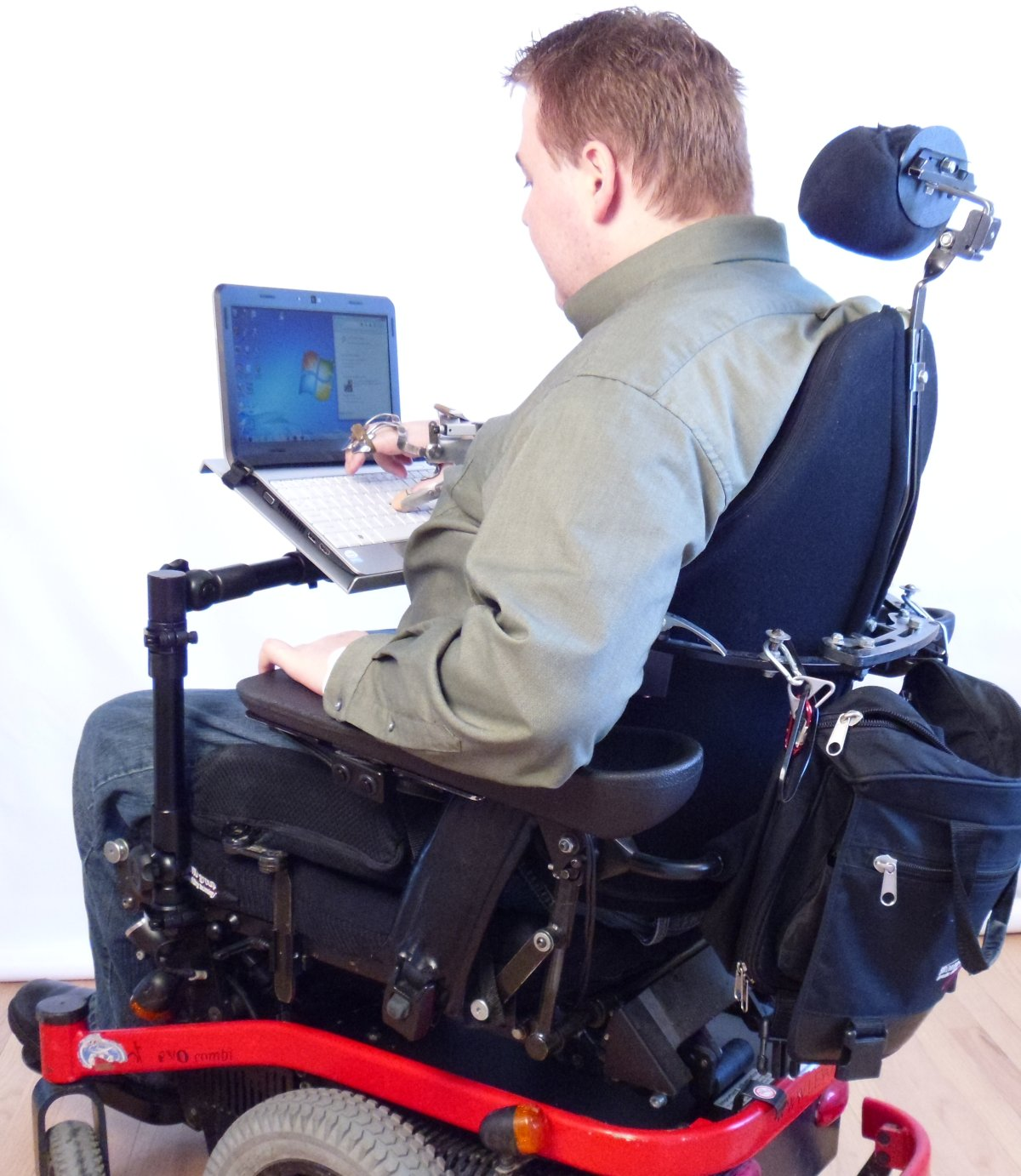 Robo Arm on Wheelchair with laptop -User view