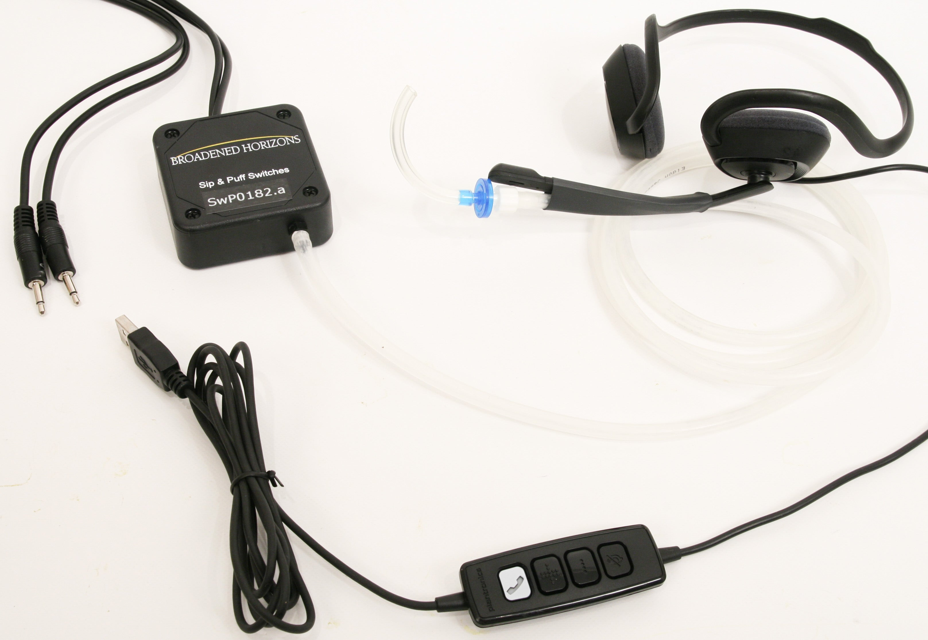 Sip-n-Puff Behind-the-Neck USB Headset and Switches for PC/Mac/Wii/PS3