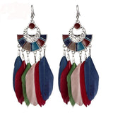 Vintage Multicolor Feather Earrings