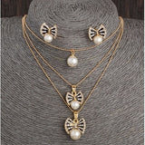 Mulitilayer Necklace Crystal Pearl Earring Jewelry Set - Abco... Store