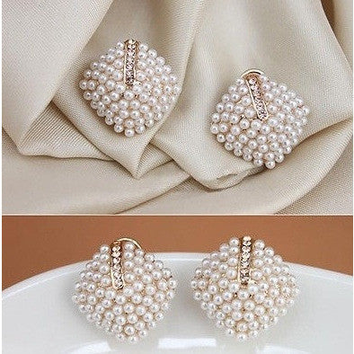 Retro Elegant Crystal Rhinestone White Pearl Rhombus Ear Studs Earrings - Abco... Store