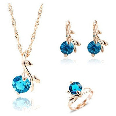 Unique Sky Blue Stone Water Drop Pendant Necklace With Rings Earrings - Abco... Store