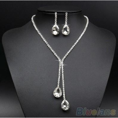 Bridal Wedding Silver Plated Crystal Rhinestone Jewelry Set - Abco... Store