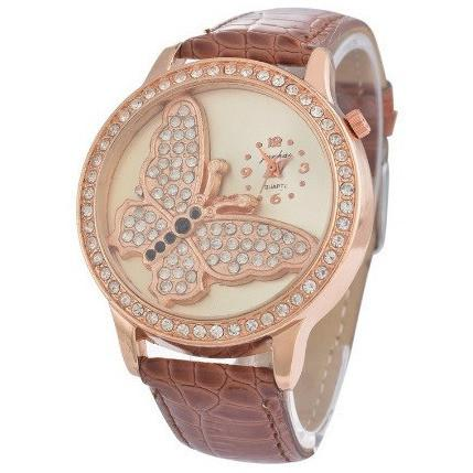 Fashion Butterfly Analog Quartz Watch PU Leather Band Rhinestone Wrist Watch - Abco... Store