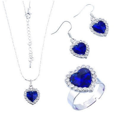 1Set Heart Of Ocean Royal Blue Crystal Jewlery Set - Abco... Store