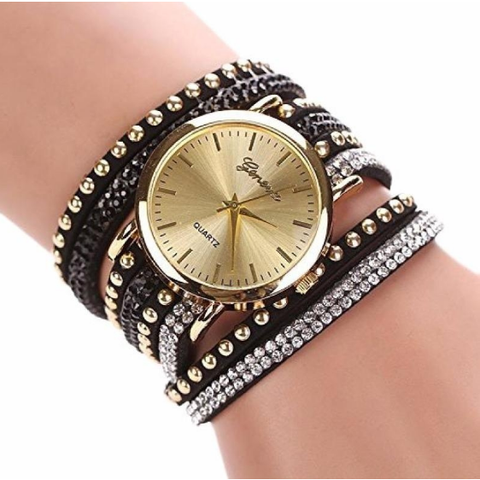 Geneva Crystal Rivet Bracelet Quartz Braided Winding Wrap Wrist Watch - Abco... Store
