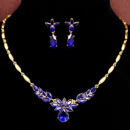 Yellow Gold Plated CZ Stone Necklace+Earrings Flower Jewelry Sets - Abco... Store