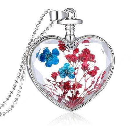 Dried Flower Heart Pendant Necklace - Abco... Store