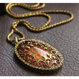 Vintage Amber Hollow Pendant Necklace - Abco... Store