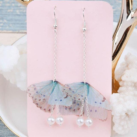 Butterfly Silver Color Imitation Pearl Earrings - Abco... Store