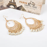 Vintage Style Beads Round hollow out Tassels Drop Earrings