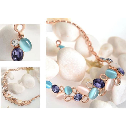 Elegant Multicolor Crystal Opal Necklace Earrings Sets - Abco... Store