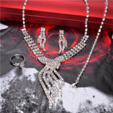 Silver Plated Necklace Bracelet Earring Ring Crystal Bridal Jewelry Sets - Abco... Store