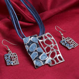 Colorful Hollow Square Pendant Multilayer leather  Necklace Earrings Set - Abco... Store