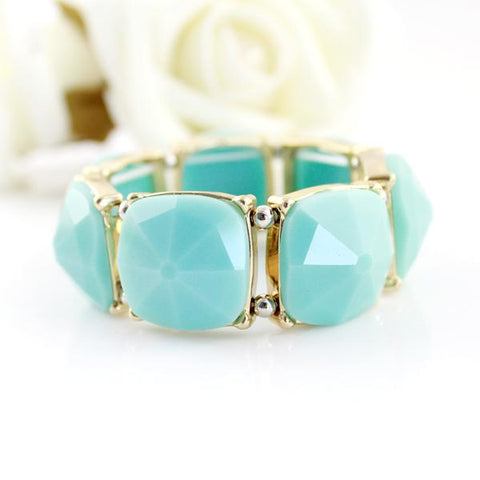 Sweet Lovely Style Gold-Color With Blue Black Geometric Stone Wrap Bracelets