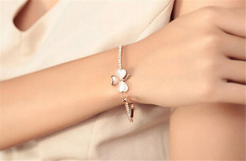 Bow Sweet Clover Opal Bangle Bracelets