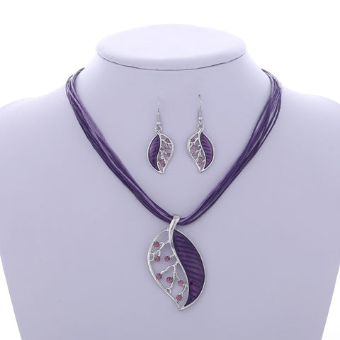 Multilayer Leather Chain Leaves Pendant Necklaces Drop Earrings Jewelry Set - Abco... Store