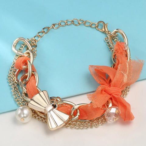 Gold Bowknot Charm Bracelets & Bangles Simulated Pearl Bracelet - Abco... Store