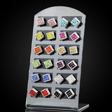 12 Pairs / Lot Earrings Set Mixed Square Brincos Crystal Stud Earrings - Abco... Store