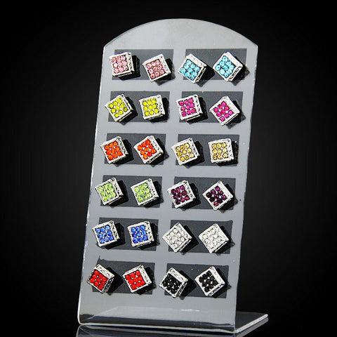 12 Pairs / Lot Earrings Set Mixed Square Brincos Crystal Stud Earrings