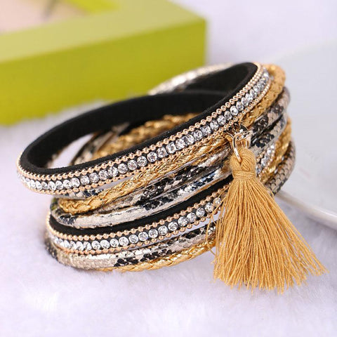 New Bohemian Multilayer Imitation Matt Resin Crystal Beads Tassel Elastic Bracelets Bangles