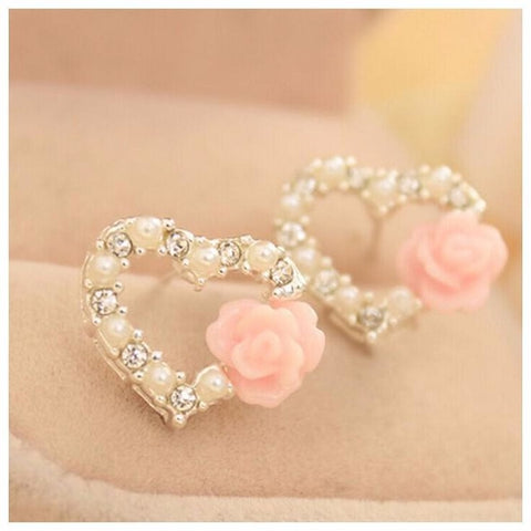 Beautiful Shiny Pearl Heart Rose Flower Stud - Abco... Store