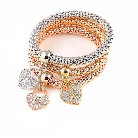 Heart Charm Crystal Elastic Multilayer Pendant Bracelet - Abco... Store