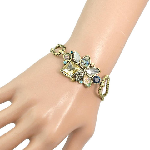 Style Vintage Jewelry Antique Gold-Color Multi Layer Chain With Colorful Stone Flower Shape Bracelet