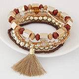Beach style Candy Color Multilayer Beads Tassel Charm Bracelets Bangles