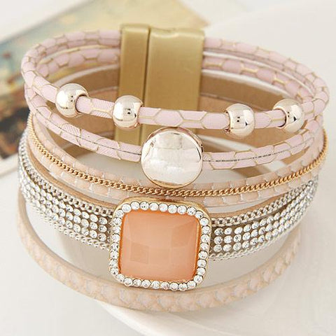 Gem Rhinestone Magnetic Leather Wristband Bracelets&Bangle
