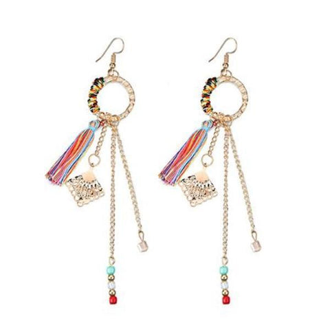 Ethnic Vintage Long Handmade Tassel Drop Fish Hook Earrings