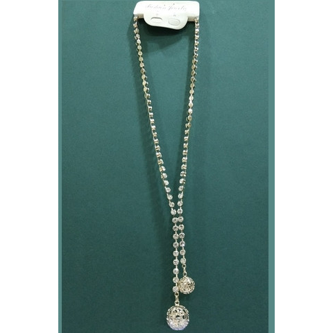 Long golden necklace with two ball pandent - Abco... Store