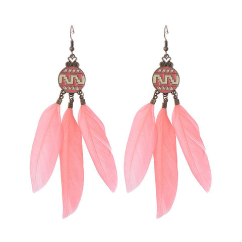 Ethnic Long Drop Feather Earrings - Abco... Store