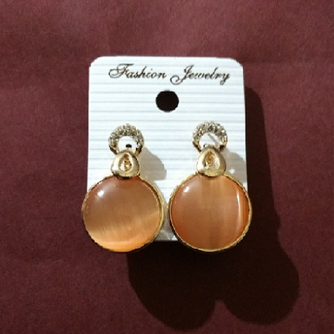 Golden Plated Drop Circle Shape Earrings - Abco... Store